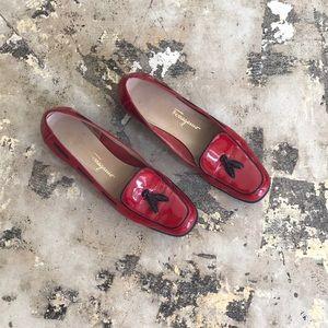 Salvatore Ferragamo Red Patent Leather Loafer Flat